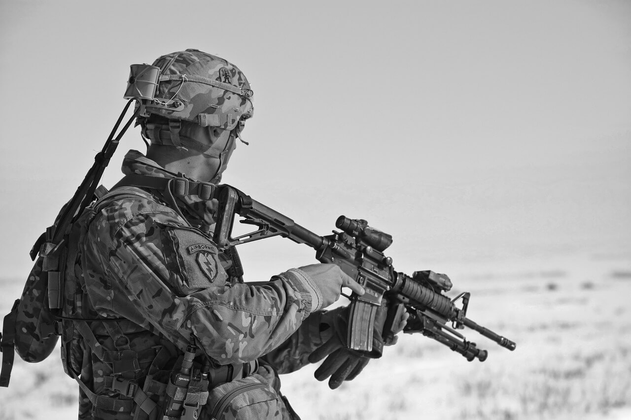 soldier with machine gun