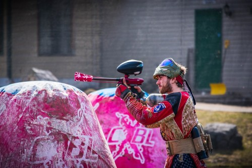 paintball player in the battle